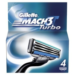 Gillette Mach 3 Turbo Skutimosi peiliukai 4 vnt.